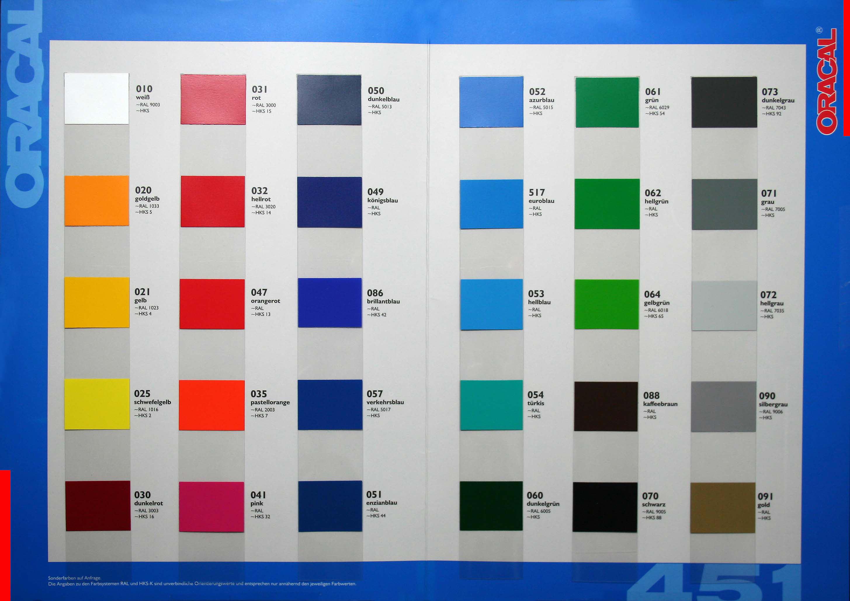 Klebefolien und Werbetechnik Shop Oracal Serie 351 Chrom Folie