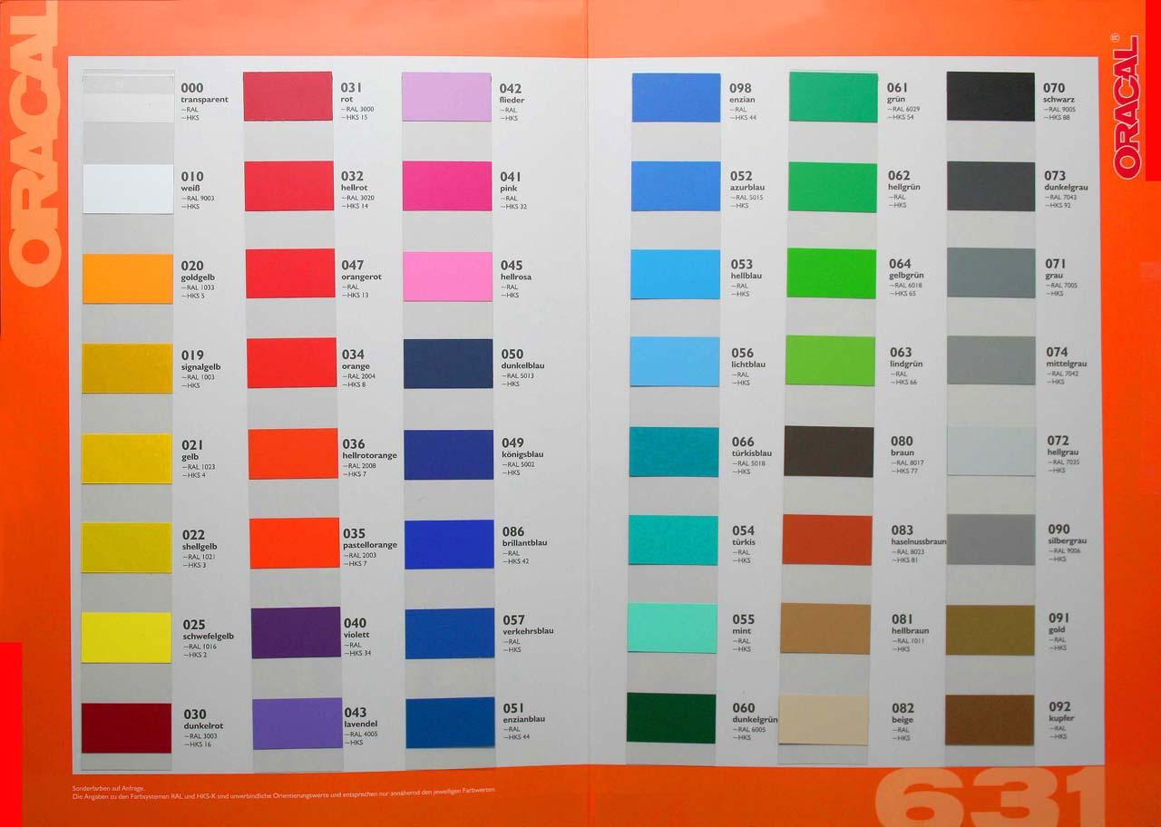 Farbfolien Oracal 631 - matte Folie ablösbarer Kleber