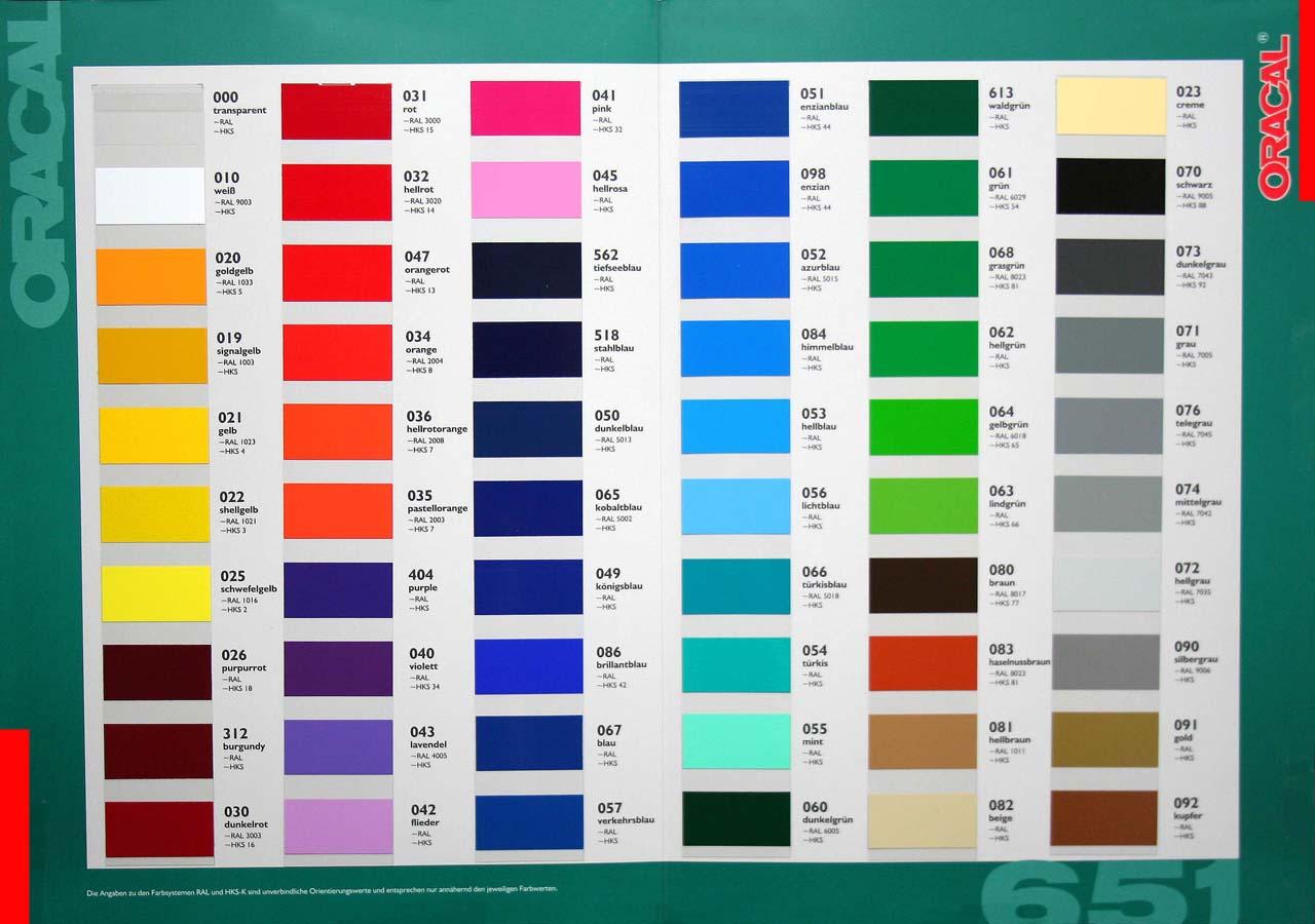 Oracal 651 Farbfolie selbstklebend von Orafol Plotterfolie