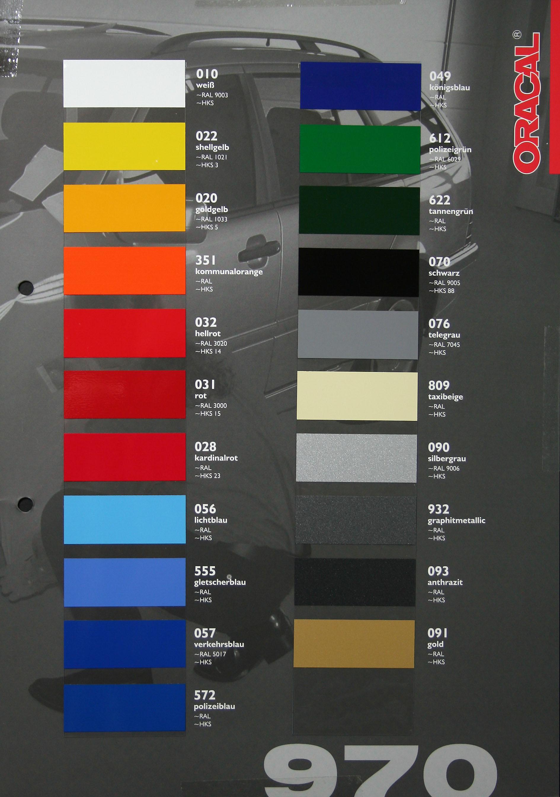 Autoaufkleber Oracal Serie 970 Car Wrapping Cast Folie